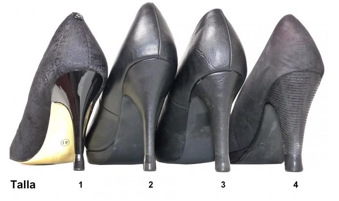 zapatos de tacón alto 4 Pares- 4 Tallas- Negro